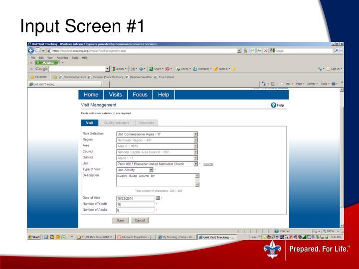 Input Screen #1