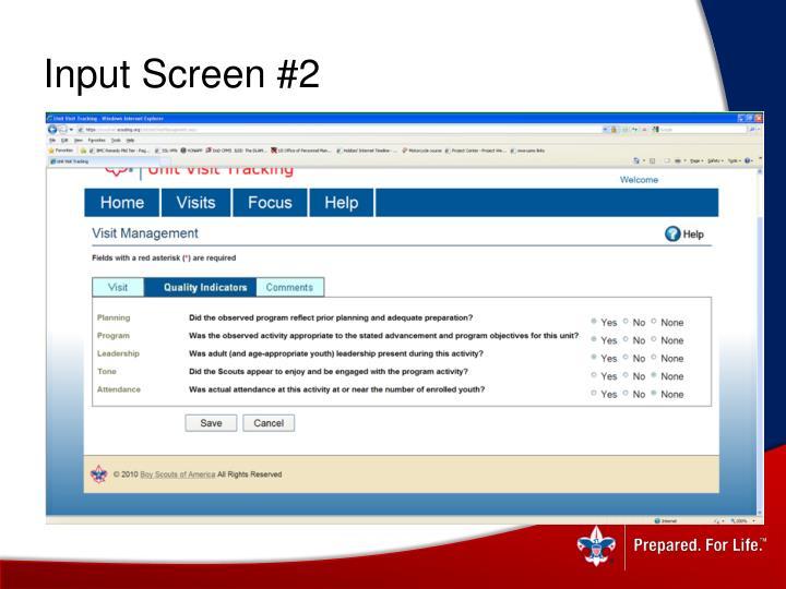 Input Screen #2