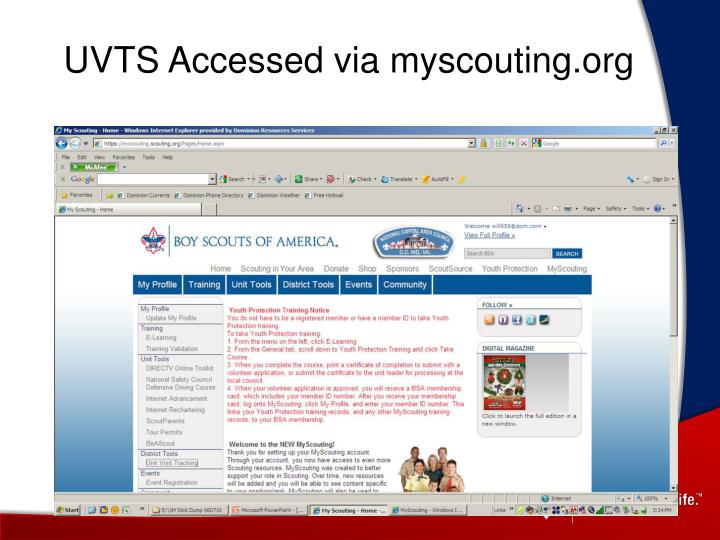UVTS Accessed via myscouting.org