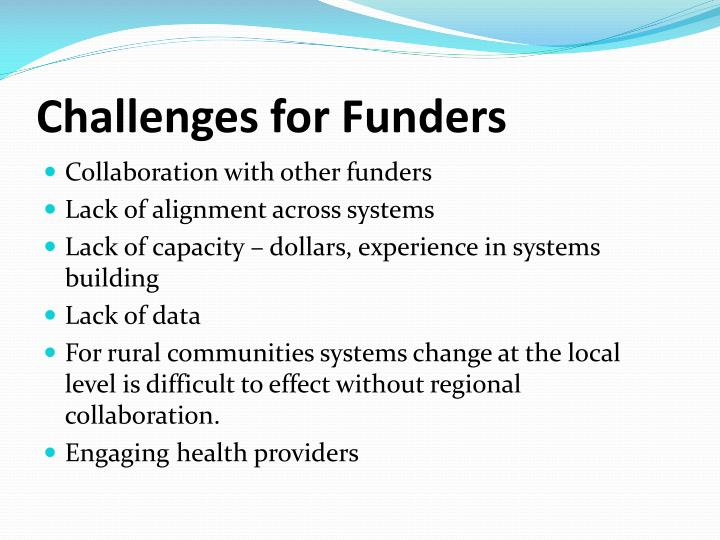 Challenges for Funders