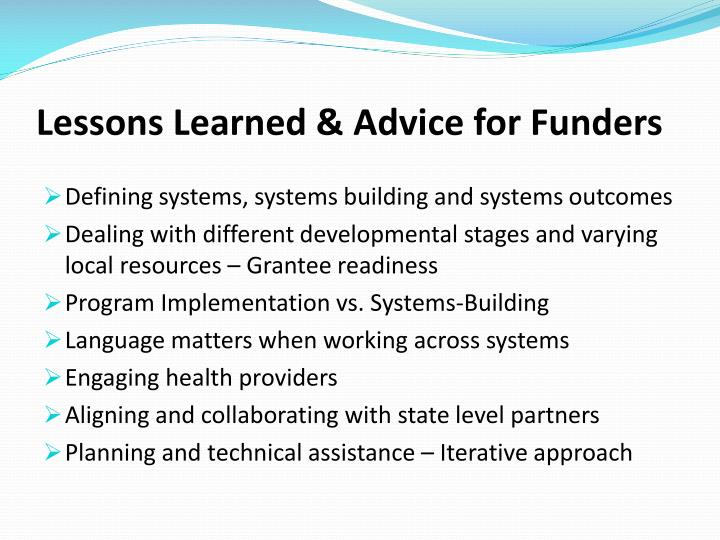 Lessons Learned & Advice for Funders