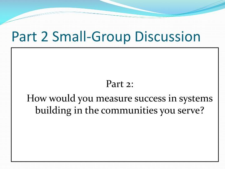 Part 2 Small-Group Discussion