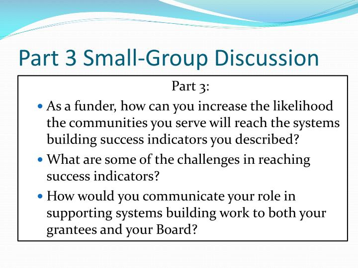 Part 3 Small-Group Discussion