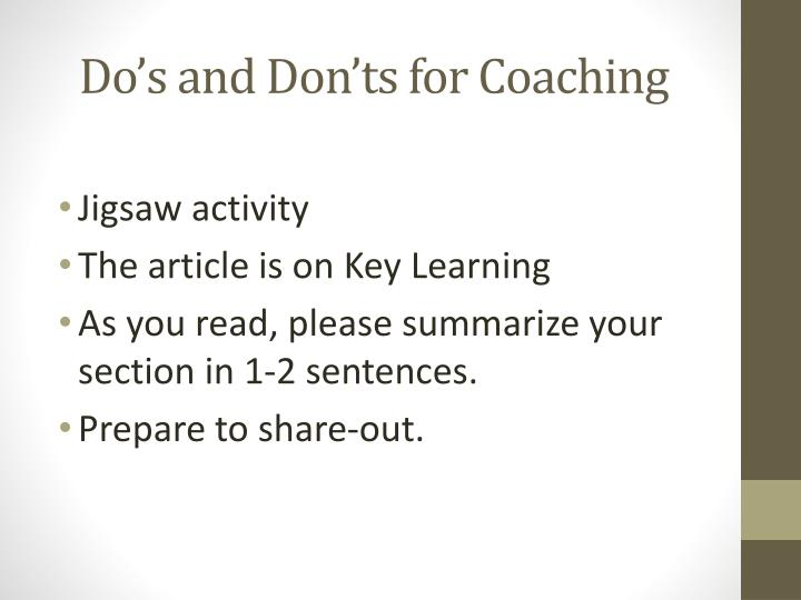 Do's and Don'ts for Coaching