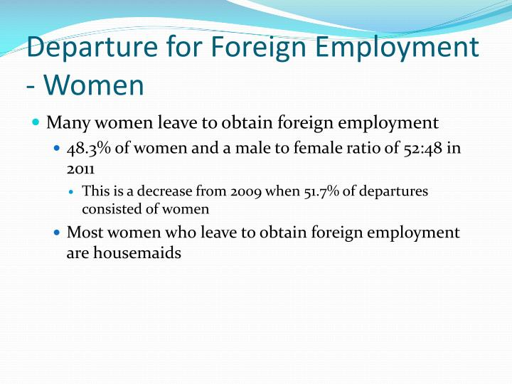 Departure for Foreign Employment - Women