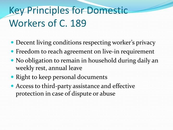 Key Principles for Domestic Workers of C. 189