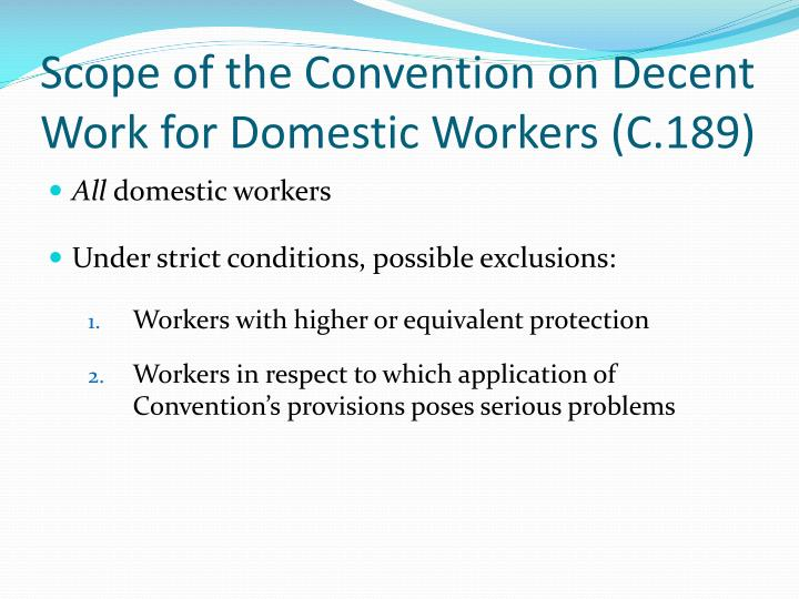 Scope of the Convention on Decent Work for Domestic Workers (C.189)