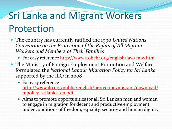 Sri Lanka and Migrant Workers Protection
