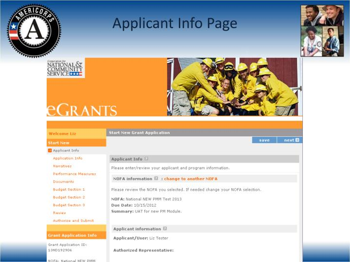Applicant Info Page