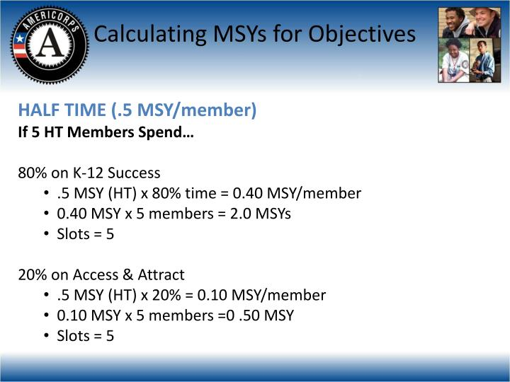Calculating MSYs for Objectives