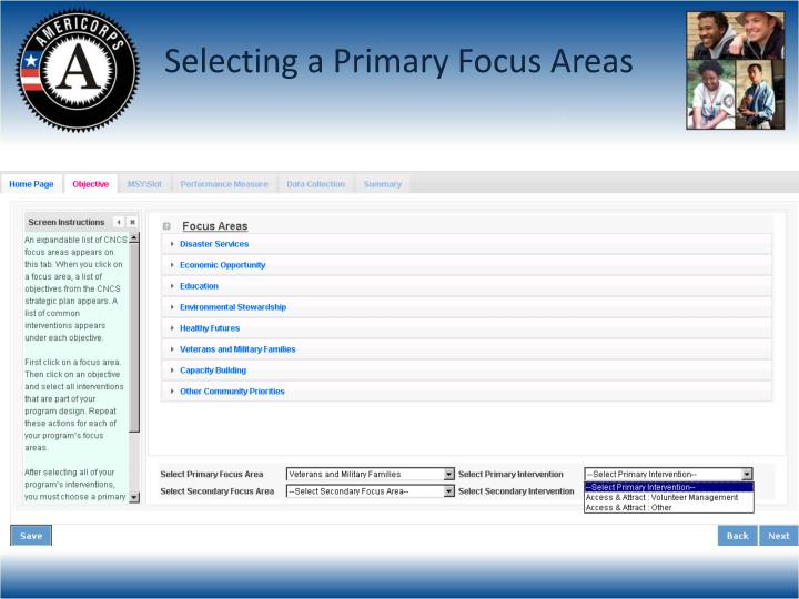Selecting a Primary Focus Areas