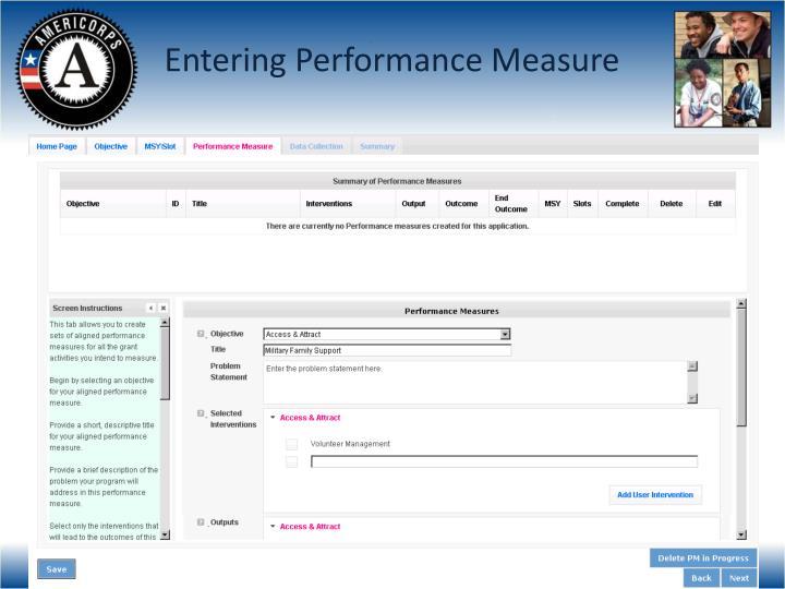 Entering Performance Measure