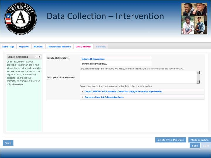 Data Collection – Intervention