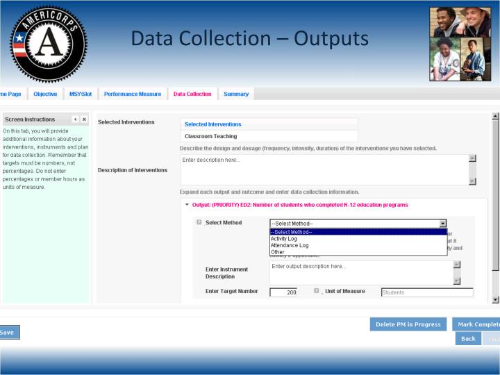 Data Collection – Outputs