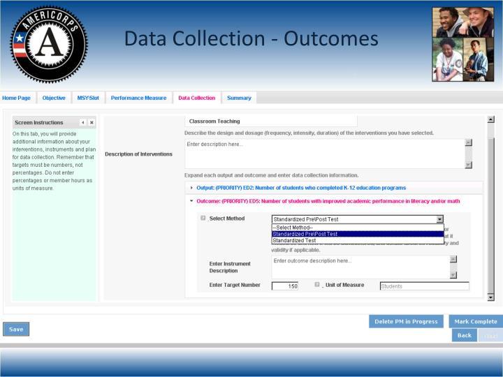 Data Collection - Outcomes