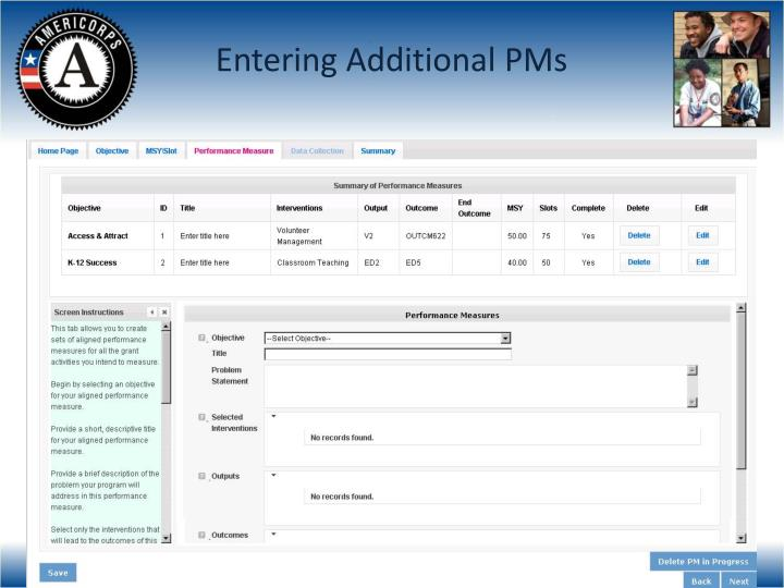 Entering Additional PMs