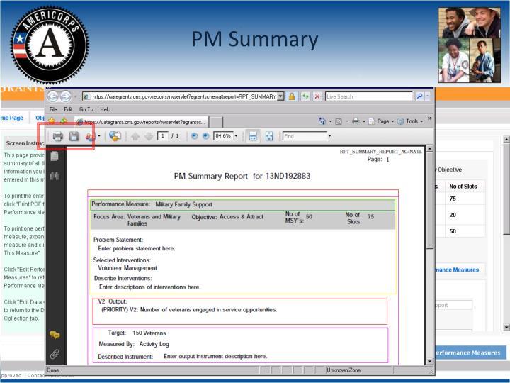 PM Summary