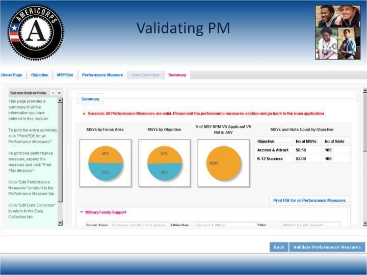 Validating PM