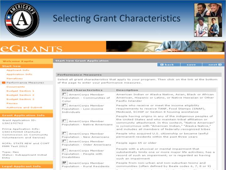 Selecting Grant Characteristics