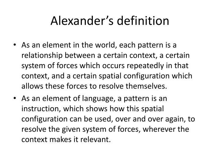 Alexander's definition