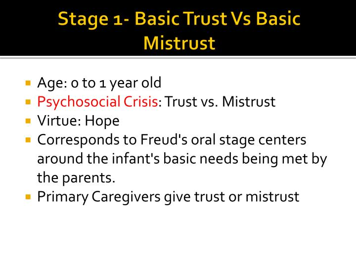 Stage 1- Basic Trust Vs Basic Mistrust