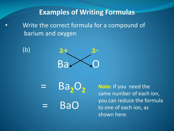 Examples of Writing Formulas
