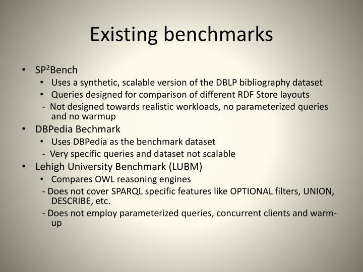 Existing benchmarks