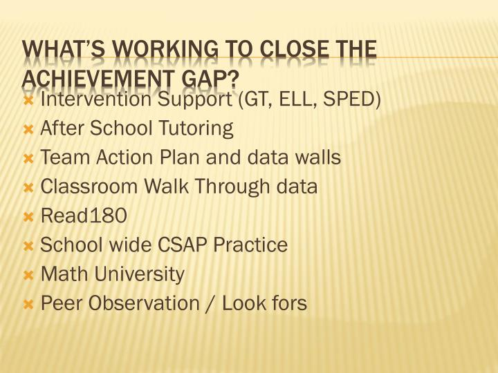 Intervention Support (GT, ELL, SPED)