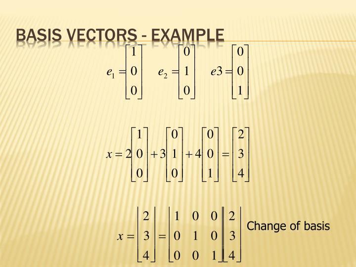Basis vectors - example