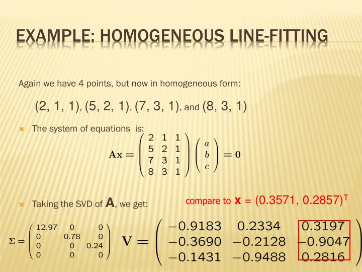 Example: Homogeneous Line-Fitting