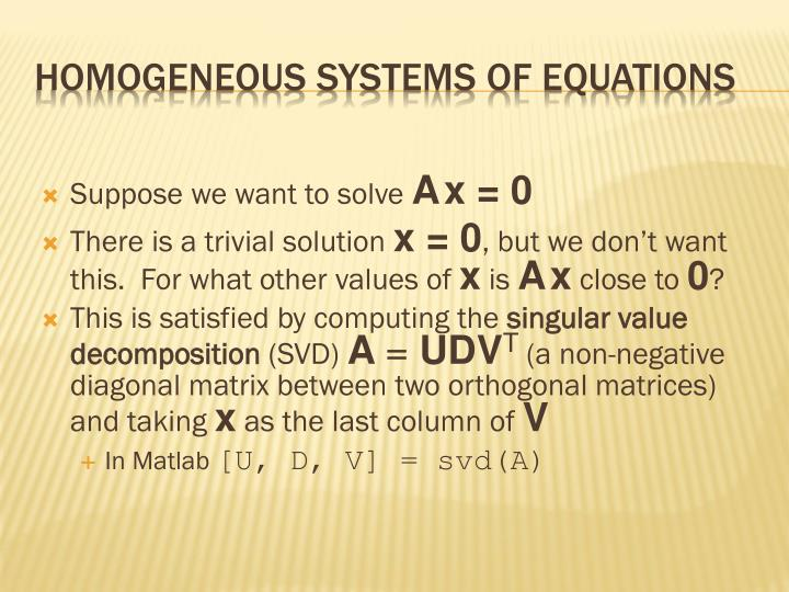 Homogeneous Systems of Equations