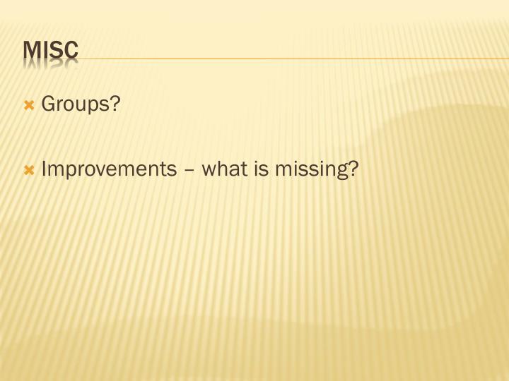 Groups?