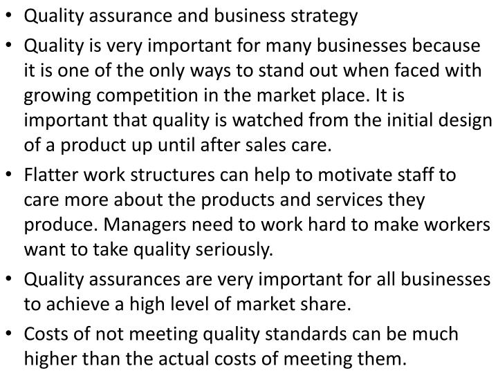 Quality assurance and business strategy