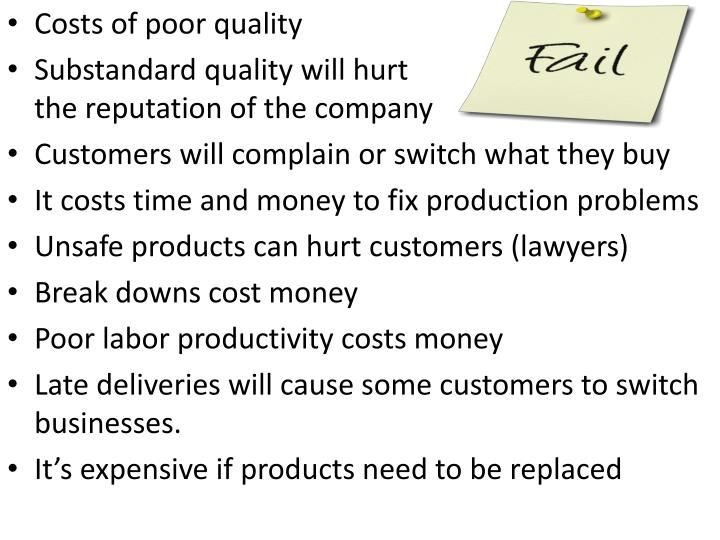 Costs of poor quality