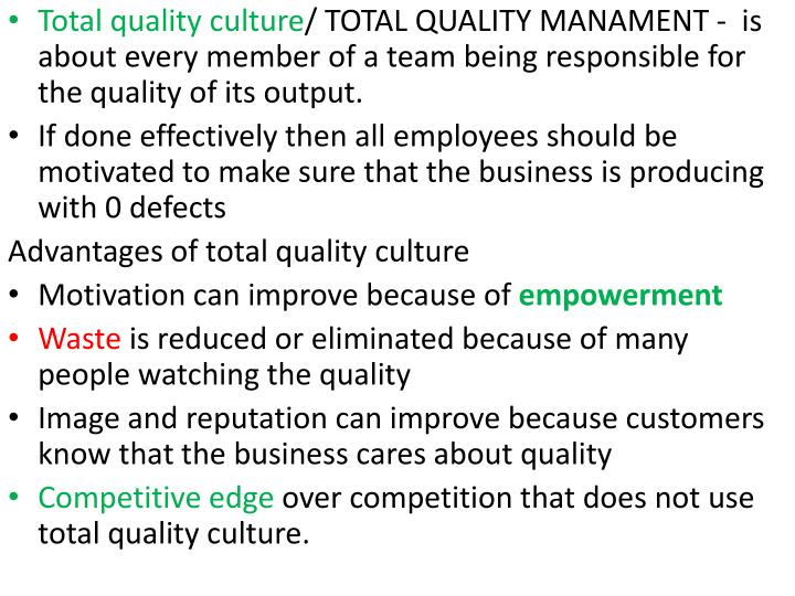 Total quality culture