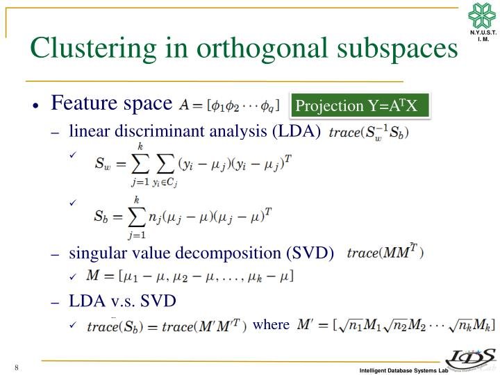 Clustering in orthogonal
