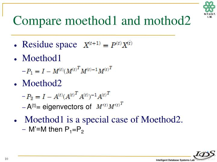 Compare moethod1 and mothod2