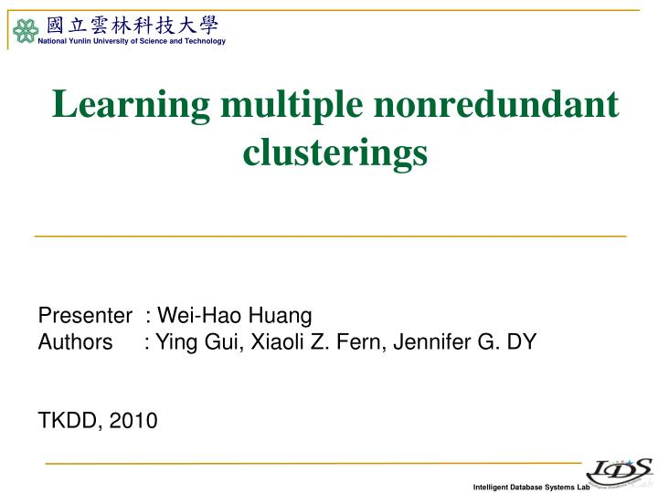 Learning multiple nonredundant clusterings