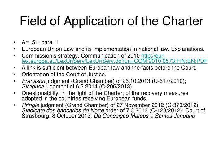 Field of Application of the Charter