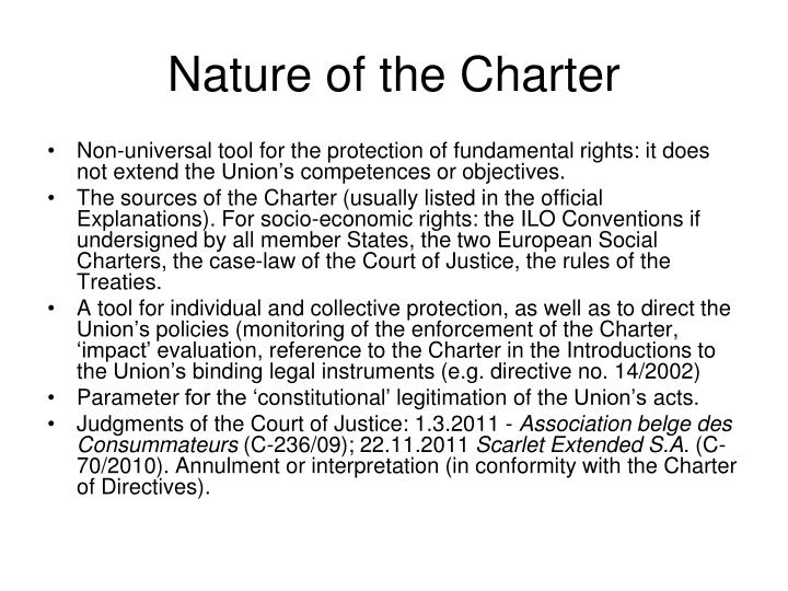 Nature of the Charter
