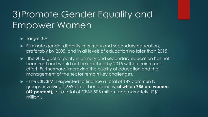 3)Promote Gender Equality