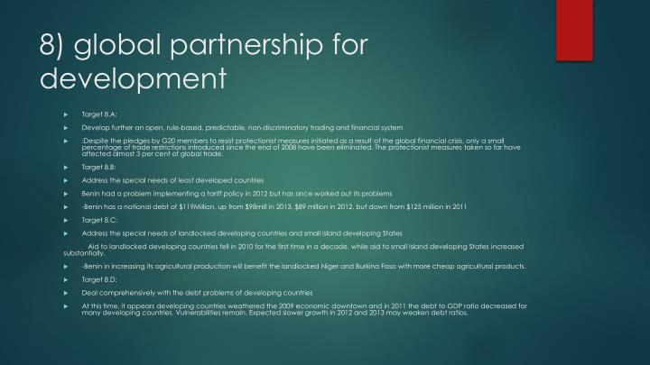 8) global partnership for development
