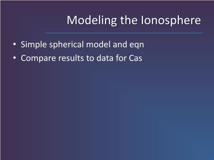 Modeling the Ionosphere
