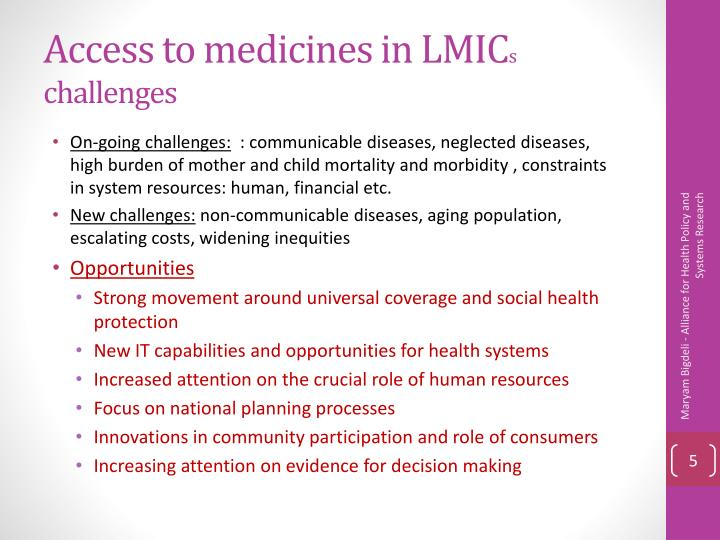 Access to medicines in LMIC