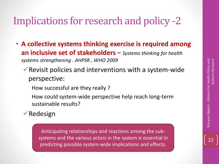 Implications for research and policy -2