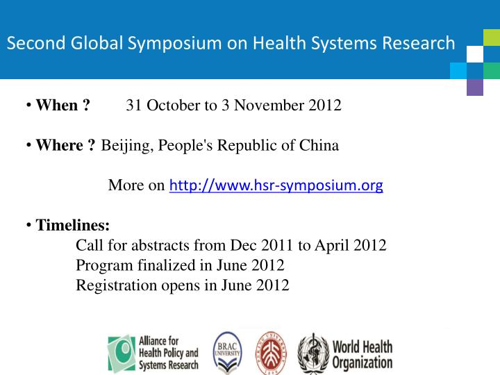 Second Global Symposium on Health Systems Research