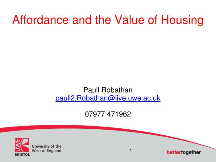 Affordance and the Value of Housing