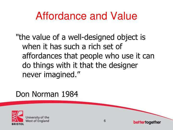 Affordance and Value