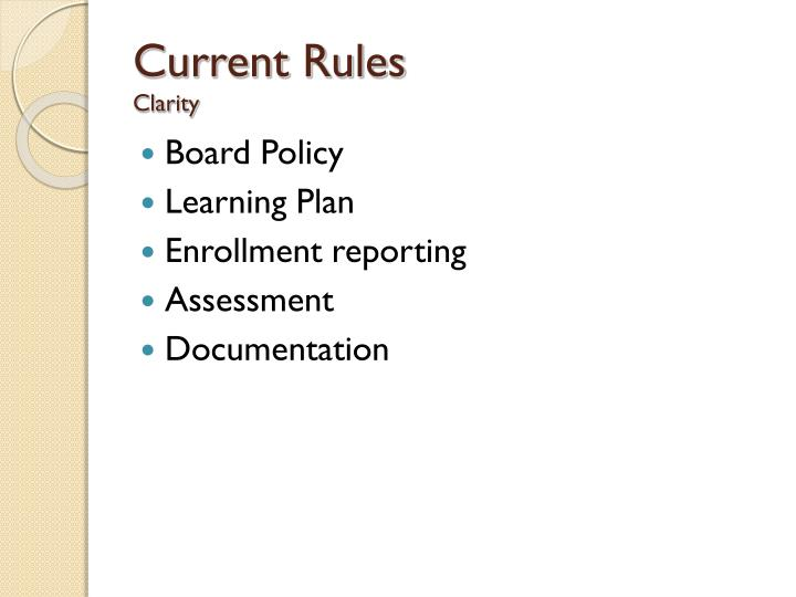 Current Rules