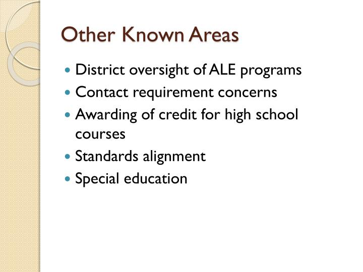 Other Known Areas